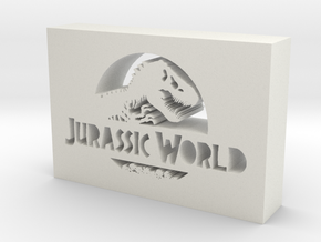 Jurassic World Logo in White Natural Versatile Plastic