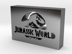 Jurassic World Logo in Polished Silver