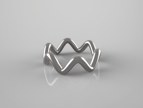 Wavy Ring in Polished Bronzed Silver Steel