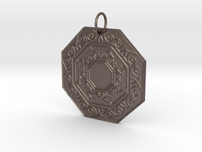 Ornate Octagon Pendant in Polished Bronzed Silver Steel