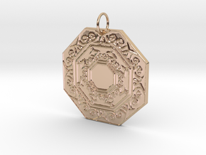 Ornate Octagon Pendant in 14k Rose Gold Plated Brass