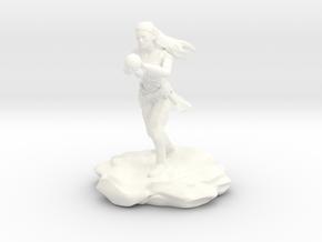 Wynnter, the Female Eladrin War Wizard with Orb in White Processed Versatile Plastic