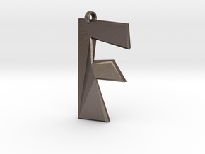 Distorted letter F in Polished Bronzed Silver Steel