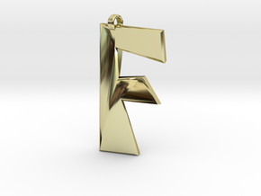 Distorted letter F in 18k Gold Plated Brass