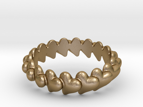 Hearts Bracelet 68 in Polished Gold Steel