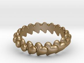 Hearts Bracelet 68 in Polished Gold Steel
