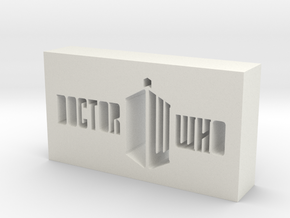 Doctor Who Logo in White Natural Versatile Plastic