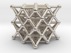 64 Tetrahedron Grid - Isotropic Vector Matrix in Rhodium Plated Brass