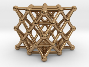 64 Tetrahedron Grid - Surface in Polished Brass