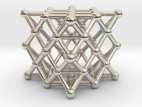 64 Tetrahedron Grid - Surface in Rhodium Plated Brass
