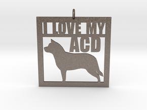 I Love My Australian Cattle Dog in Polished Bronzed Silver Steel