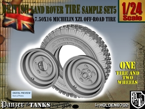 1-24 Land Rover 750x16 Tire And Wheels Sample Set5 in Frosted Ultra Detail