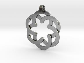 Expandable Hexagonal Pendant  in Interlocking Polished Silver
