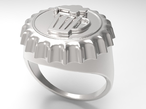 Beer Cap Ring S B in Polished Silver: 10 / 61.5