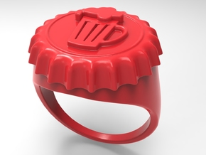 Beer Cap Ring Pl in Red Strong & Flexible Polished: 10 / 61.5