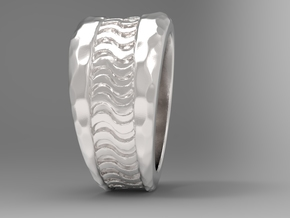Wave Ring S B in Polished Silver: 10 / 61.5