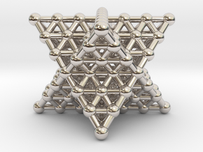 Merkaba Matrix 3 - Surface - Star tetrahedron grid in Rhodium Plated Brass