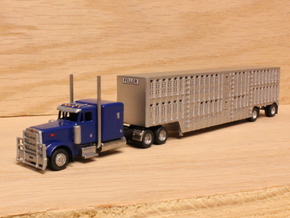 1:160 N Scale 53' Spread Axle Livestock Trailer in Smooth Fine Detail Plastic