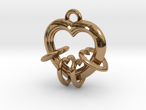 4 Hearts Linked in Love in Polished Brass (Interlocking Parts)