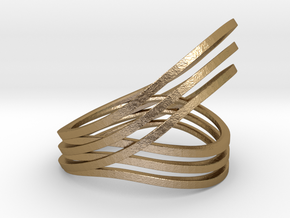 Convolution ring in Polished Gold Steel