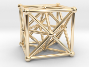 Metatron's Cube - Merkaba Cube in 14k Gold Plated Brass
