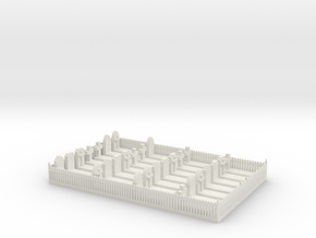 N Scale Cemetery Graveyard Fenced 1:160 in White Natural Versatile Plastic