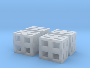 Boxes 4x scale 1-100 in Smooth Fine Detail Plastic: 1:100