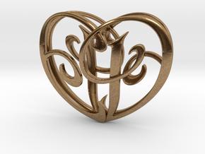 Scripted Initials 3d Heart - 4cm in Natural Brass