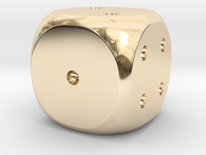 Precious metal dice - platinum, gold or silver in 14K Yellow Gold