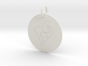 Aries Keychain in White Natural Versatile Plastic