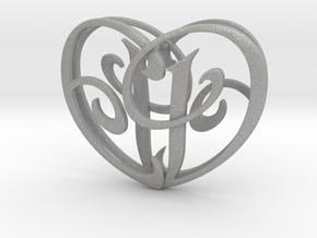 Scripted Initials 3d Heart - 4cm in Aluminum