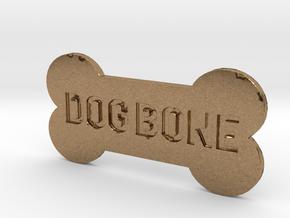 Dog Bone Button in Natural Brass