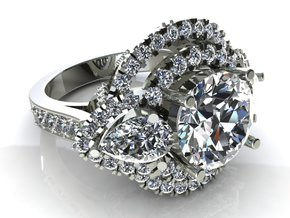 Pear Round Engagement Ring in Smooth Fine Detail Plastic