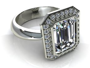 Halo Emerald Wedding Ring in Frosted Ultra Detail