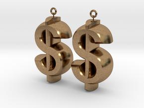 Earrings Dollar Symbols in Natural Brass