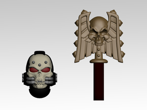 Skull Helm & Hammer 2 in Smoothest Fine Detail Plastic