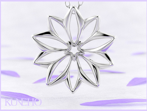Anemone Pendant in Fine Detail Polished Silver