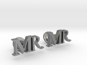 MR personalised cufflinks in Raw Silver