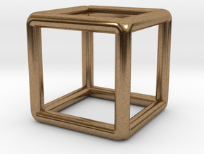 Building Cube Pendant in Natural Brass