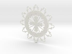 Prayer Group Snowflake Ornament in White Natural Versatile Plastic