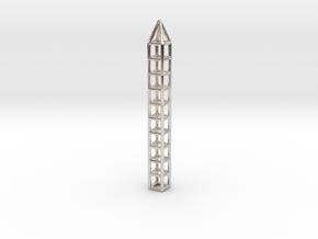 Pen Pendant CC in Rhodium Plated Brass