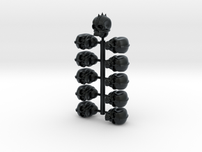Skull Helmet Heads 28mm scale in Black Hi-Def Acrylate