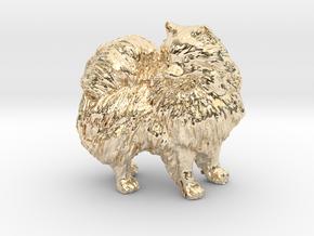 Custom Pomeranian Dog in 14K Yellow Gold