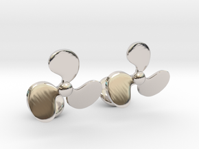 Turbine Fan Cufflinks in Rhodium Plated Brass