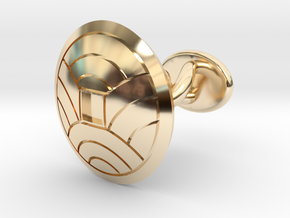 "Japanese Kamon cufflink ""裏浪銭紋"" in 14K Yellow Gold: Small"