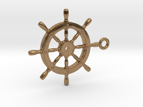 ship wheel Pendant 2 in Natural Brass
