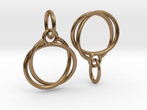 Mobius earrings jR in Natural Brass (Interlocking Parts)