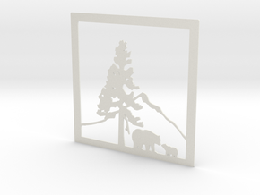 Bears Under The Mountain 12 X 12 (L) in White Natural Versatile Plastic
