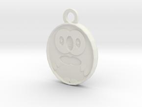 Rowlet Pendant in White Natural Versatile Plastic