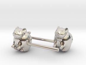 Chinchilla Earrings in Rhodium Plated Brass